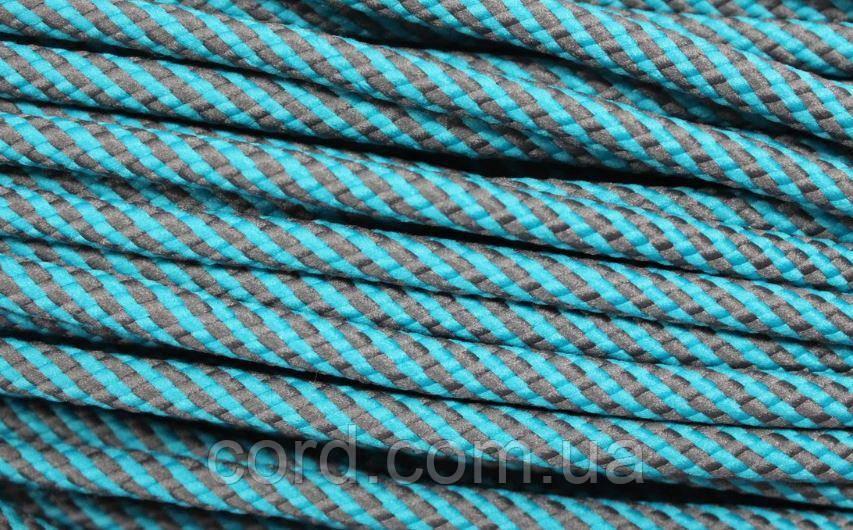 Шнур круглый 7мм 100м темно серый+ мор волна