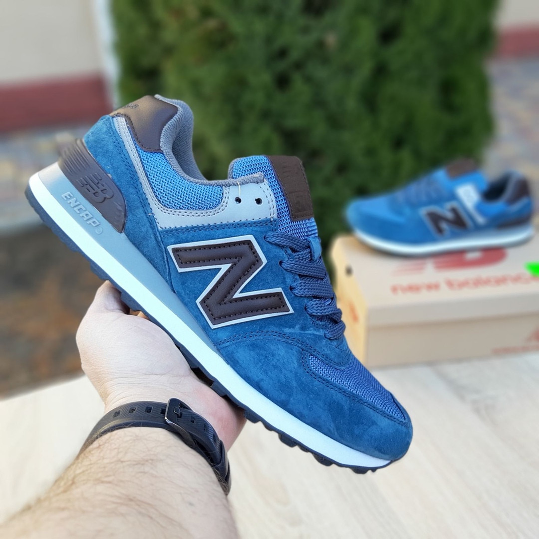 Мужские замшевые кроссовки Nеw Balance 574 синий с коричневым