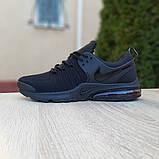 Мужские текстильные кроссовки Nike Air Presto черные на балоне, фото 2