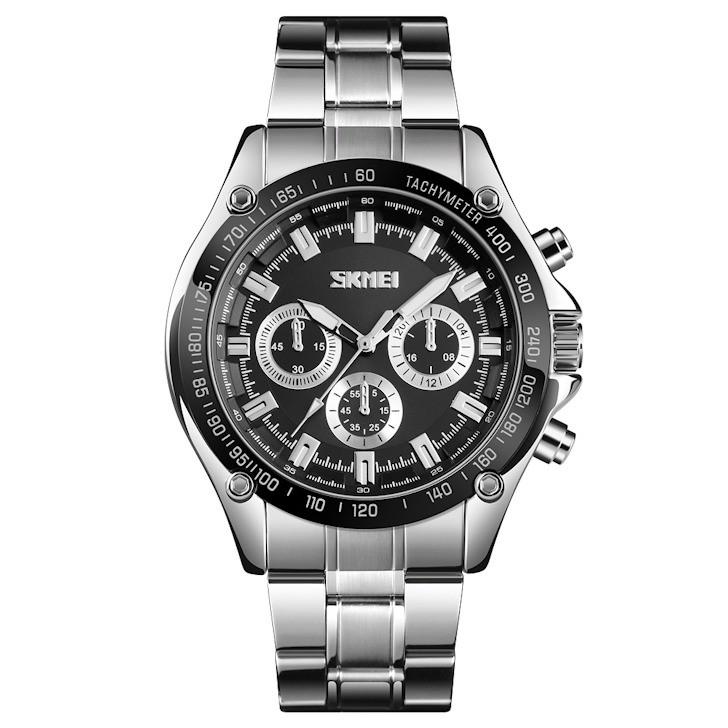 Skmei 1366 серебристые с черным циферблатом мужские  классические часы