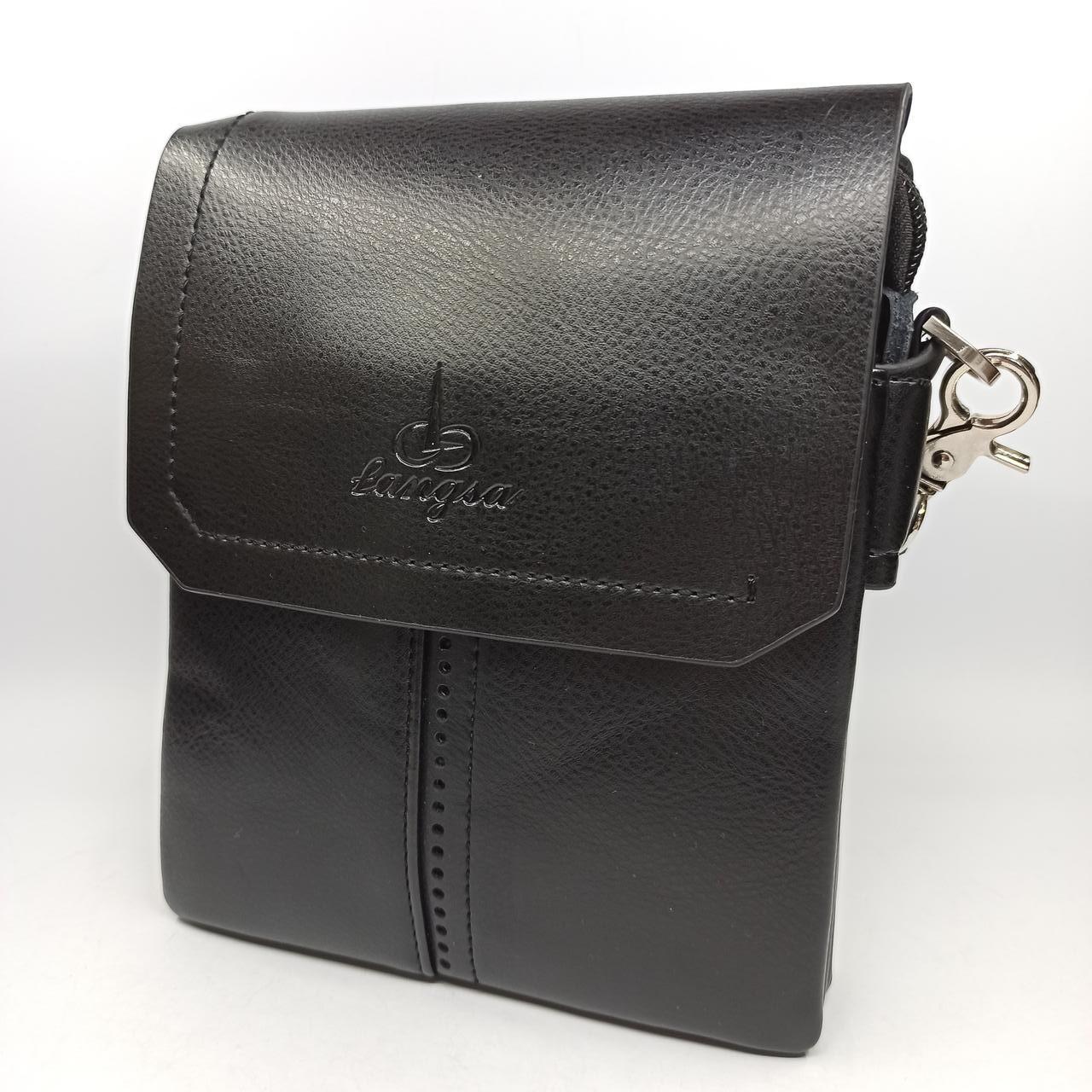 Шкіряна чоловіча сумка через плече / Мужская кожаная сумка через плечо Langsa