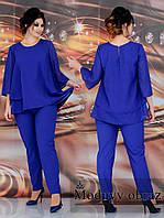 Нарядный женский летний костюм двойка больших размеров: шифоновая блузка+брюки (р.48-62). Арт-2218/42, фото 1