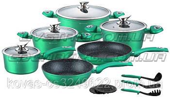 Набор посуды Edenberg изумрудно-зеленого цвета - 15 предметов