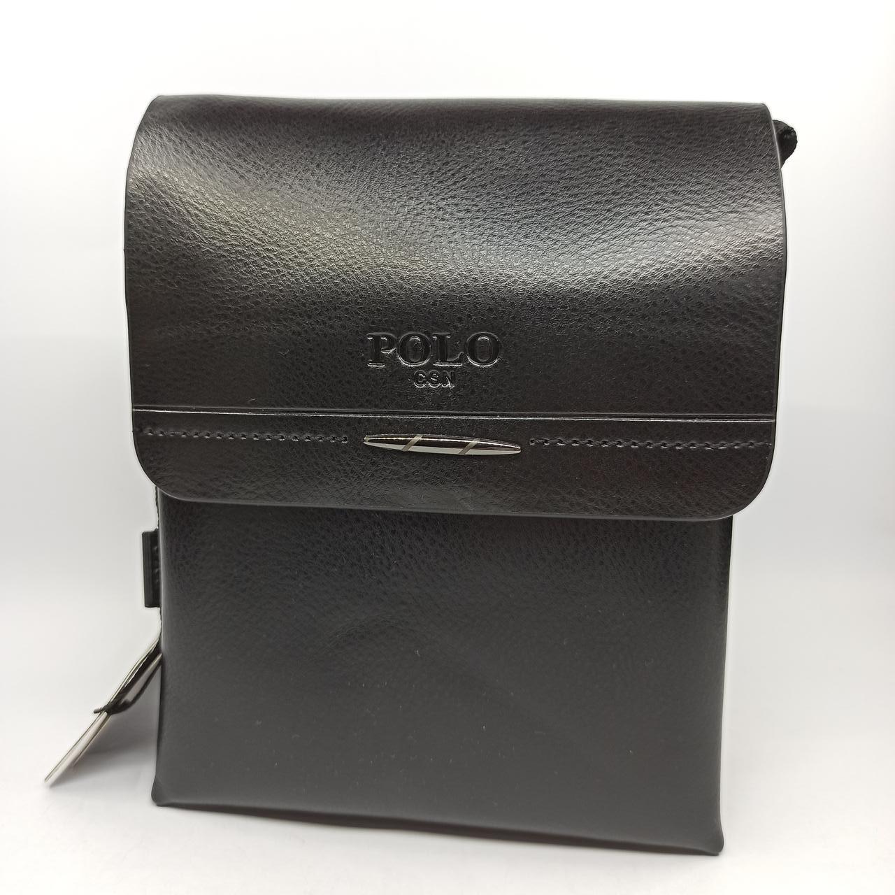 Мужская кожаная сумка планшет через плечо Polo B351-1