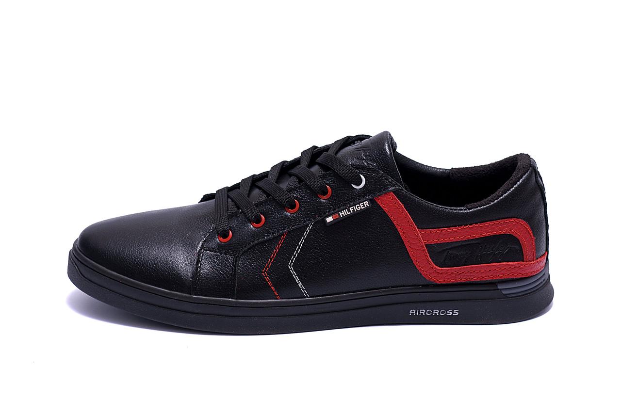 Мужские кожаные кеды  T.Hilfiger Aircross Black ;