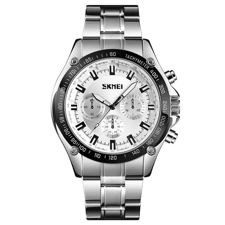 Skmei 1366 серебристые с серебристым циферблатом мужские классические часы