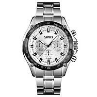 Skmei 1366 серебристые с серебристым циферблатом мужские классические часы, фото 1