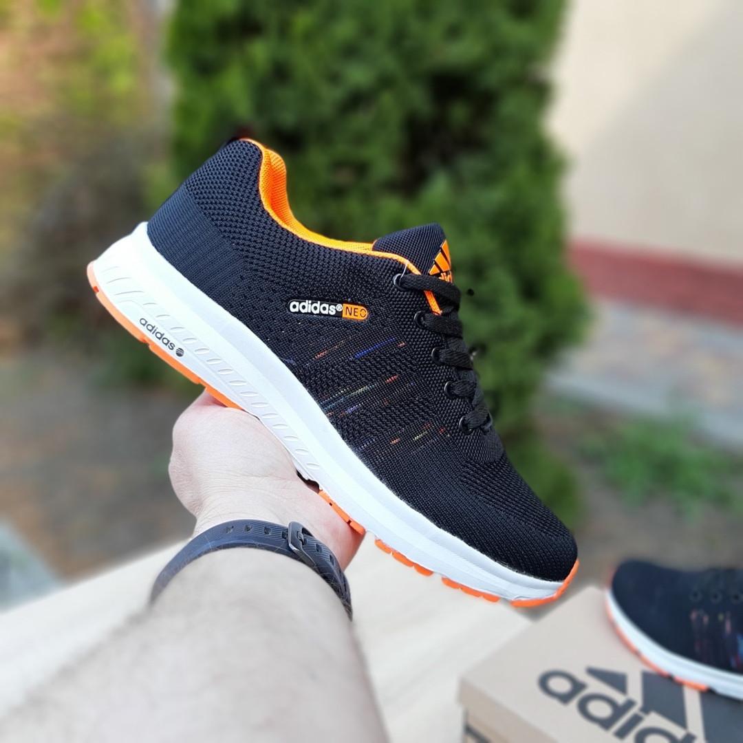 Мужские текстильные кроссовки Adidas NEO Чёрные с оранжевым