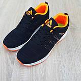 Мужские текстильные кроссовки Adidas NEO Чёрные с оранжевым, фото 3