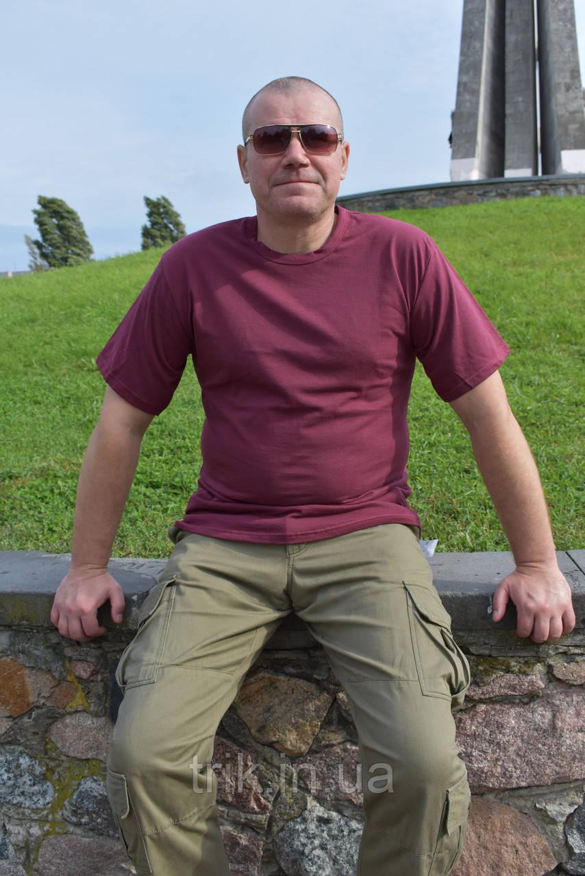 Бордовая мужская футболка хлопок 100%