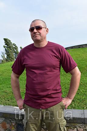 Бордовая мужская футболка хлопок 100%, фото 2