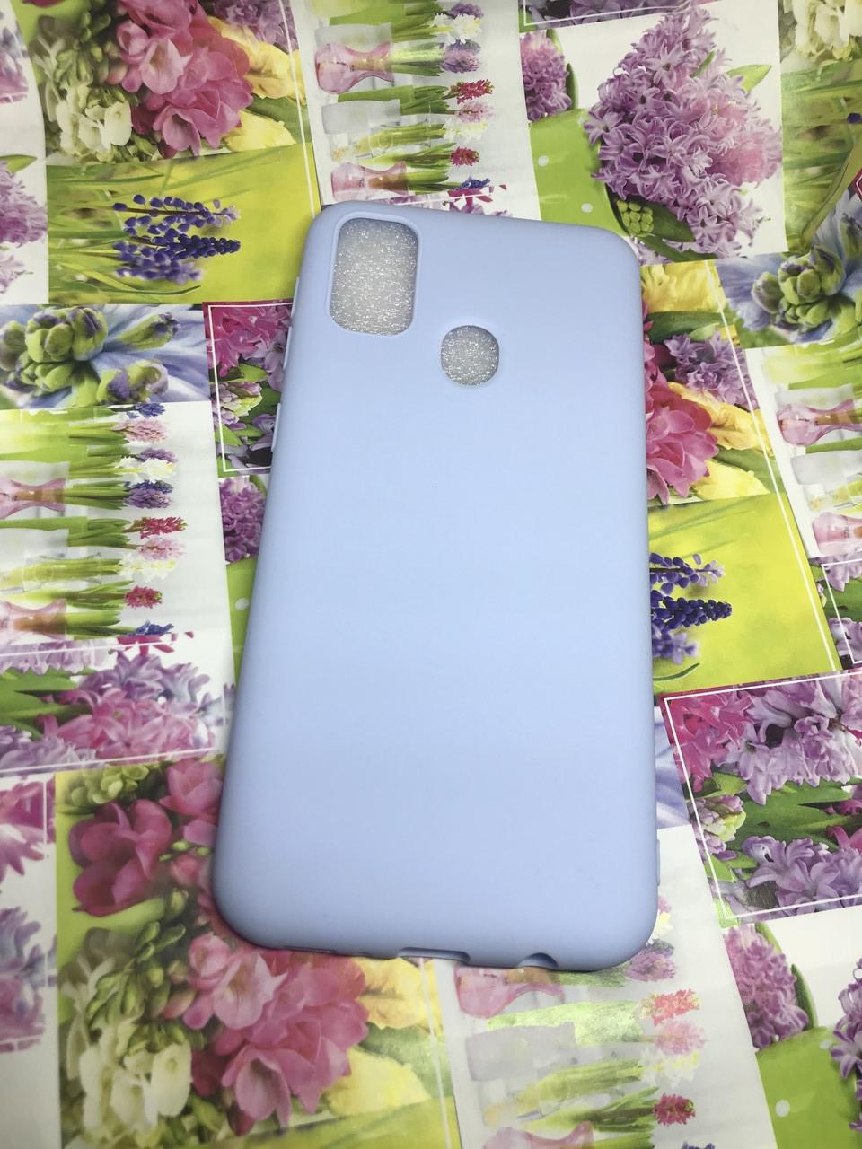 Чехол силиконовый для Samsung M21 2020 (M215) матовый голубой