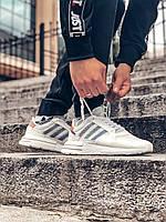 Кроссовки мужские Adidas ZX 500 RM белые, Адидас, натуральная замша, сетка, прошиты. Код Z-3011