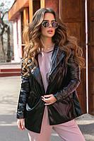 Стильная куртка женская с поясом черный
