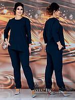 Стильний річний брючний костюм двійка батал: асиметрична блузка+штани (р. 48-62). Арт-2221/42, фото 1