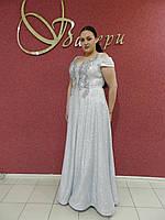 Длинное нарядное вечернее платье батал большого размера серое серебристое люрекс на свадьбу на выпускной.