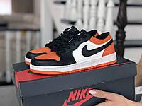 Кроссовки женские Nike Air Jordan 1 Low белые с черным/оранжевые, фото 1