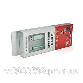 Магнітний кабель світиться USB 2.0 / Type-C, 1m, 2А, GREEN, OEM