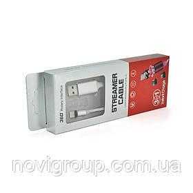 Магнітний кабель світиться USB 2.0 / Type-C, 1m, 2А, Silver, OEM