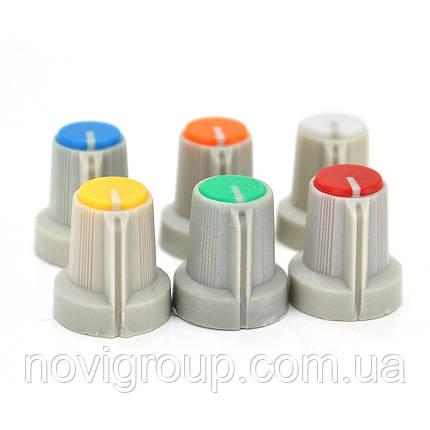 Ручка AG1 для багатооборотних прецезіонних дротяних потенціометрів WH148, Yellow, 100шт в упаковці, ціна за, фото 2