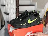 Кроссовки женские Nike Air Force черные с салатовым, фото 2