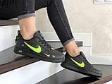 Кроссовки женские Nike Air Force черные с салатовым, фото 3