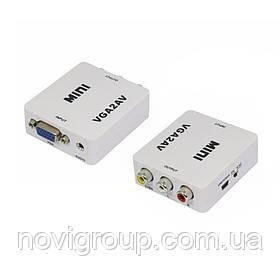 Конвертер Mini, VGA to AV, ВИХІД 3RCA(мама) на ВХІД VGA(мама), 720P/1080P, White, BOX