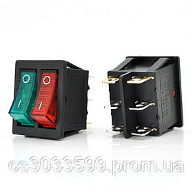 Перемикач ON-ON KCD4-212N, 250VAC / 15A, 6 контактів, Red/Green, Q50 ( 245*170*41 ) 0,75 кг