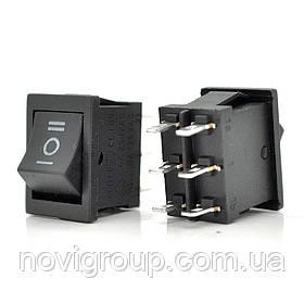 Перемикач ON-OFF KCD4-213, 250VAC / 6A, 6 контактів, Black, Q100