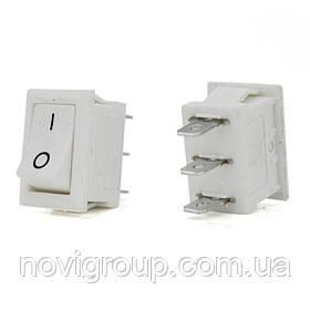 Перемикач ON-ON KCD1-102, 250VAC / 6A, 3 контакту, White, Q100