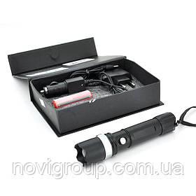 Ліхтарик ручний Т-8826,  3 реж., Zoom,  корпус-алюміній, ударостійкий, 18650 ак-тор, СЗУ + АЗУ, BOX