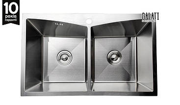 Кухонная мойка двойная 78*48*23 см Galati Arta U-730D (бесплатная доставка), фото 3