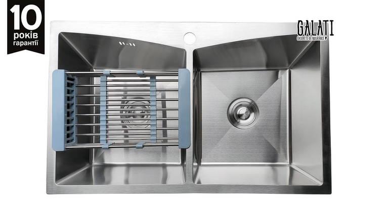 Кухонная мойка двойная 78*48*23 см Galati Arta U-730D (бесплатная доставка), фото 2
