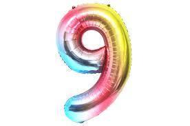 Фольгированная цифра 9 радужный градиент  слим 100 см , Китай