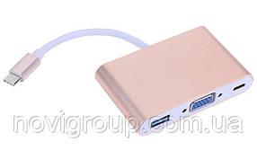 Конвертер Type-C (тато) на VGA (мама) + USB 3.0 (мама) + Type-C (мама) 10cm, GOLD, 4K / 2K Пакет
