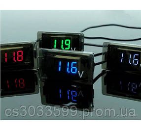 Цифровий вольтметр вологозахищений IP65, діапазон вимірювань 4 -30V, Blue