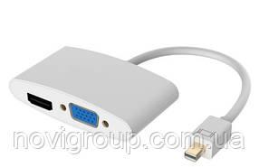 Конвертер mini Display Port (тато) на HDMI/VGA(мама) 30cm, Silver, 4K/2K, Пакет