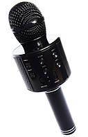 🔝 Микрофон для караоке, WSTER WS858, блютуз микрофон для пения, детский микрофон с динамиком (Черный)   🎁%🚚