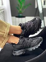 Кроссовки женские Balenciaga Track Trainer черные, Баленсиага Трек, дышащий материал, прошиты. Код KS-9404
