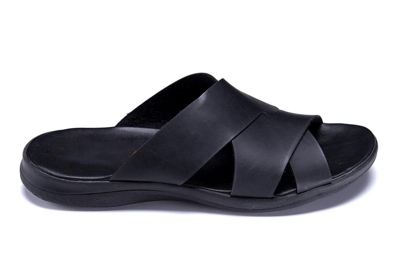 Мужские кожаные  летние шлепанцы-сланцы  E-series Biom  Black