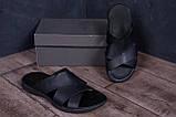 Мужские кожаные  летние шлепанцы-сланцы  E-series Biom  Black, фото 7