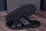 Мужские кожаные  летние шлепанцы-сланцы  E-series Biom  Black, фото 8