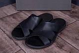 Мужские кожаные  летние шлепанцы-сланцы  E-series Biom  Black, фото 9