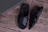 Мужские кожаные  летние шлепанцы-сланцы  E-series Biom  Black, фото 10