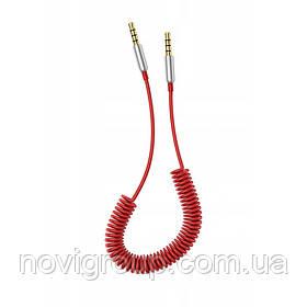 Кабель AUX Audio DC3.5 тато-тато 1.5 м пружина, CCA Stereo Jack, (круглий) Red cable, Box