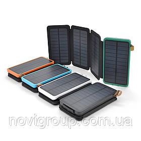 Power bank 12000 mAh Solar, (5V / 200mA), 2xUSB, 5V / 1A / 2.1A, мікс-колір, USB  microUSB, ударо захищений