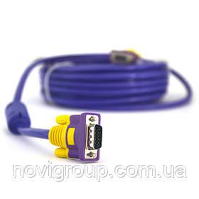 Кабель Merlion VGA 3 + 4 with shielding, 5m, male to male (тато-тато), 2 фериту, purple, Пакет Q100