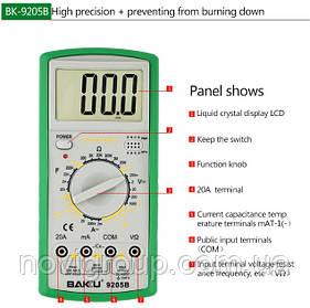 Мультиметр BAKKU BK-9205B Вимірювання: V, A, R