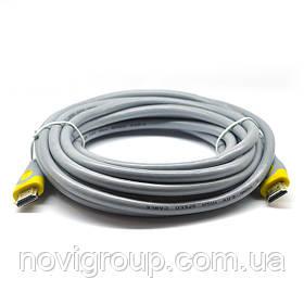 Кабель Merlion HDMI-HDMI V-Link High Speed 20.0m, v2,0, OD-8.2mm, круглий Grey, коннектор Grey / Yellow,