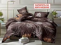 Євро комплект постільної білизни - Папороть на коричневому